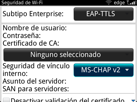 Configuración de Red Inalámbrica Blackberry, parte 2