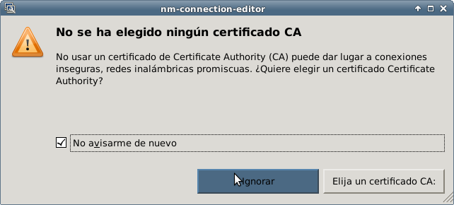 Pantalla de advertencia de certificado